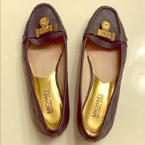 Michael Kors navy blue and gold loafers